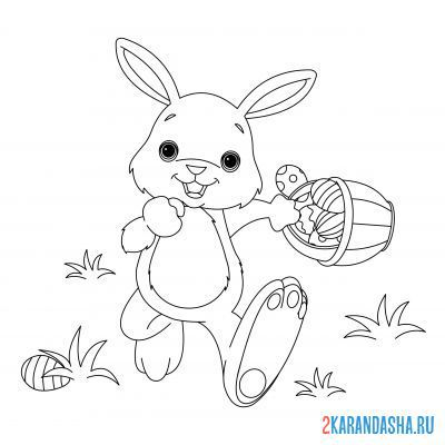 Print a coloring book hare with a basket of eggs on A4