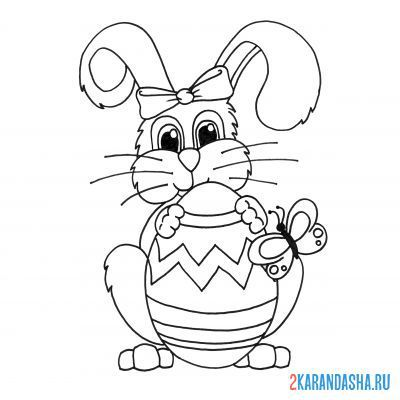 Print a coloring book easter bunny on A4