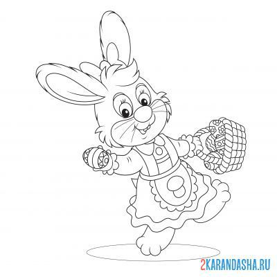 Print a coloring book rabbit in a dress with a basket on A4
