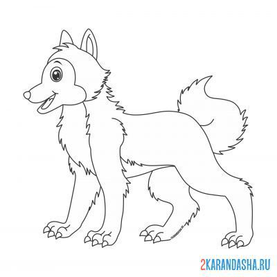 Print a coloring book content wolf on A4