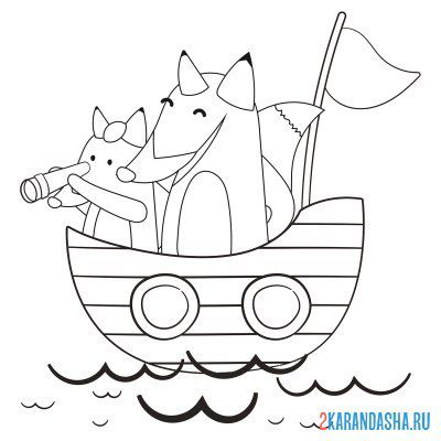 Print a coloring book fox and fox on a boat on A4