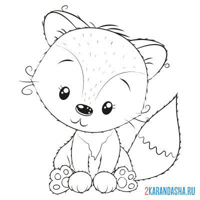 Print a coloring book little fox on A4