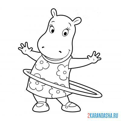 Print a coloring book hippo girl with hoop on A4