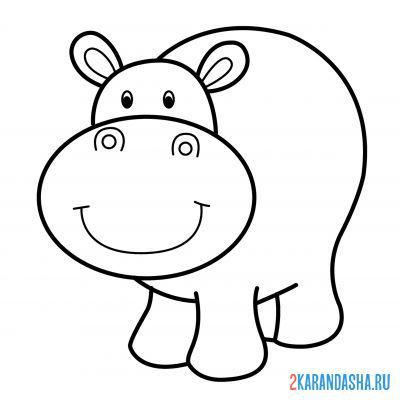 Print a coloring book funny hippo on A4