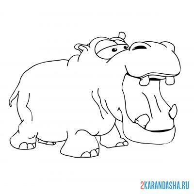 Print a coloring book hippo with open mouth on A4
