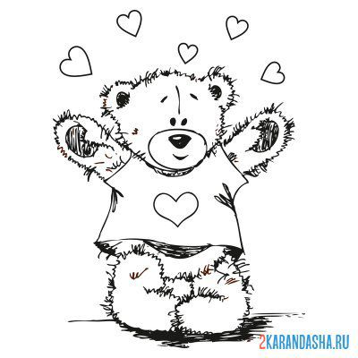 Print a coloring book teddy bear with a heart on a t-shirt on A4