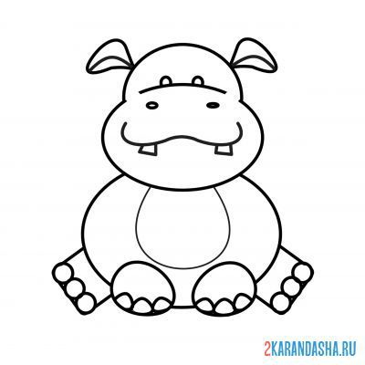 Print a coloring book hippo sitting on A4