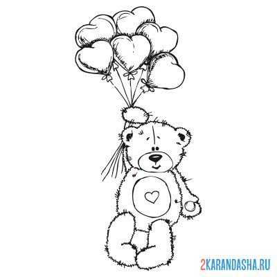 Print a coloring book teddy bear with heart and balls on A4