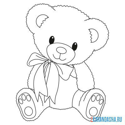 Print a coloring book toy teddy bear on A4
