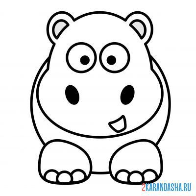 Print a coloring book simple hippo on A4