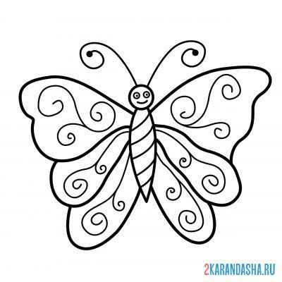 Print a coloring book butterfly with a pattern on the wings on A4