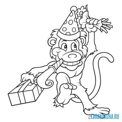 Print a coloring book monkey with gifts on A4