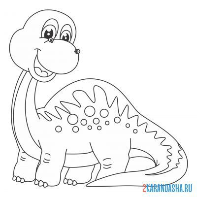 Print a coloring book dinosaur smiles on A4