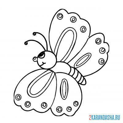 Print a coloring book butterfly for baby on A4