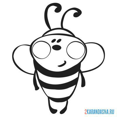 Print a coloring book bee for children on A4