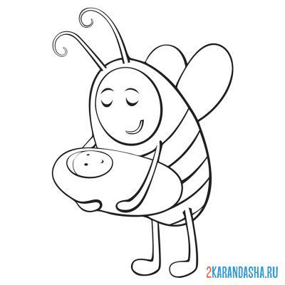Print a coloring book bee mom on A4