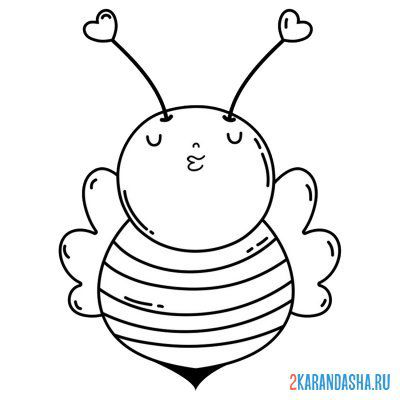 Print a coloring book bee with hearts on A4