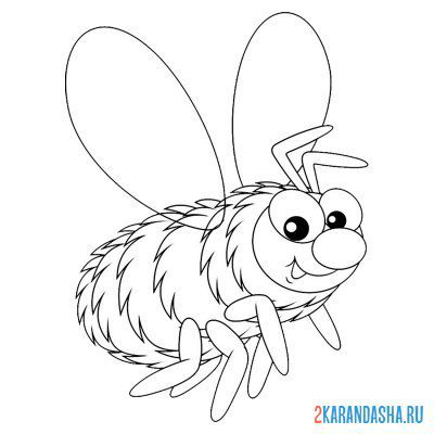 Print a coloring book fluffy bee on A4