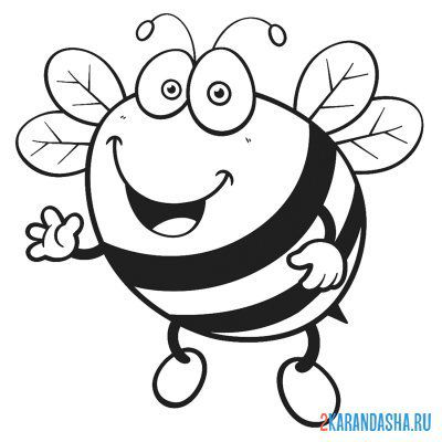 Print a coloring book bee picture on A4