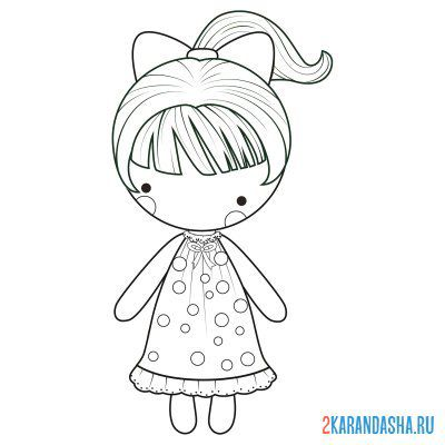 Print a coloring book doll girl on A4
