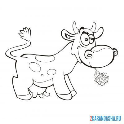 Print a coloring book cow with flower on A4