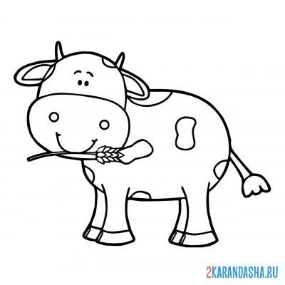 Print a coloring book the calf smiles on A4