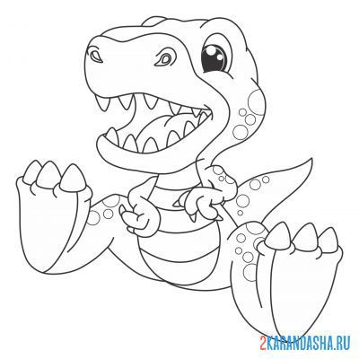Print a coloring book dinosaur sitting on A4