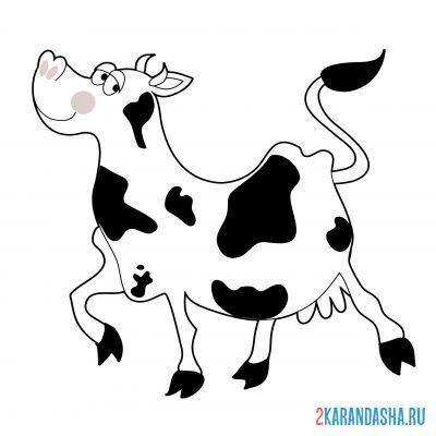 Print a coloring book the cow is running on A4