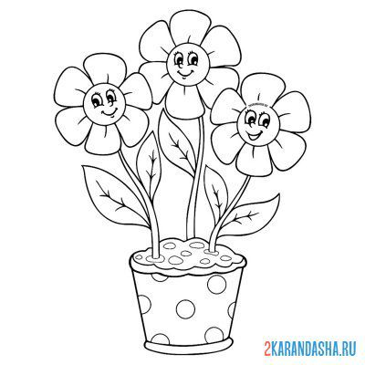 Print a coloring book three flowers in a pot on A4