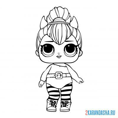 Print a coloring book doll lol spice with horns on A4