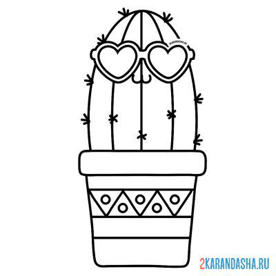 Print a coloring book cactus flower in a pot on A4
