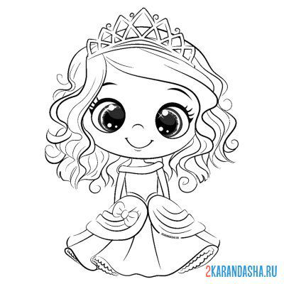 Print a coloring book cute princess on A4