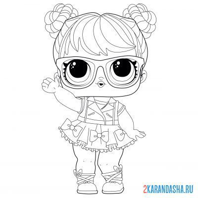 Print a coloring book lol doll with glasses good bon (bon bon) on A4